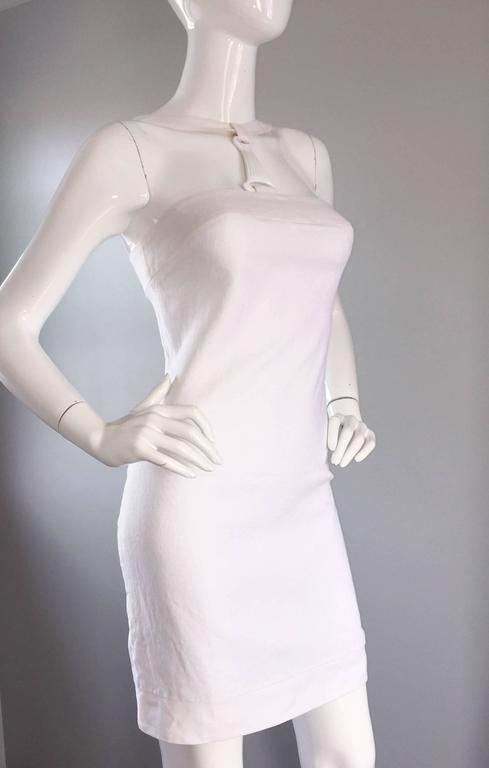 Rare 1990s Gianni Versace White Bondage BodyCon Vintage Dress w/ Medusa Harness 7