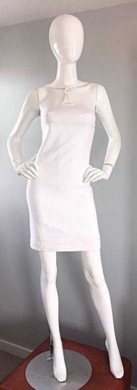 Rare 1990s Gianni Versace White Bondage BodyCon Vintage Dress w/ Medusa Harness 9
