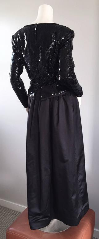 Travilla Vintage Black Sequin Avant Garde Cutout Silk Satin Evening Gown  For Sale 1