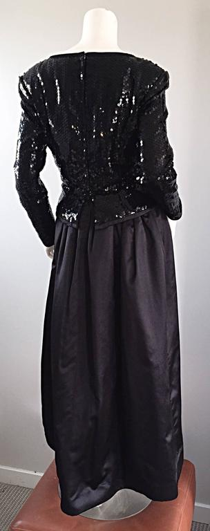 Travilla Vintage Black Sequin Avant Garde Cutout Silk Satin Evening Gown  For Sale 3