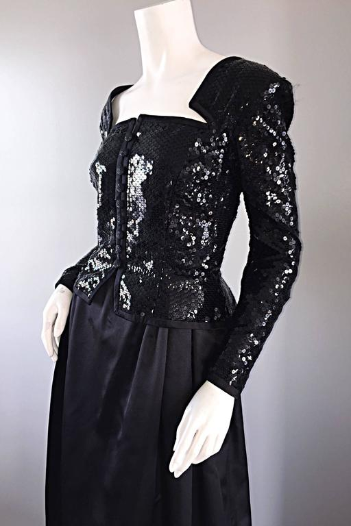 Travilla Vintage Black Sequin Avant Garde Cutout Silk Satin Evening Gown  In Excellent Condition For Sale In Chicago, IL
