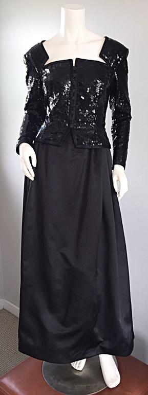 Travilla Vintage Black Sequin Avant Garde Cutout Silk Satin Evening Gown  For Sale 5