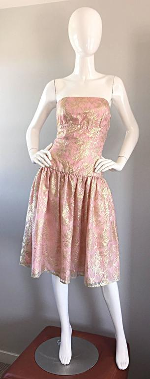 Vintage Halston Pink and Gold Metallic Lace Strapless 1980s 80s Cocktail Dress  For Sale 4