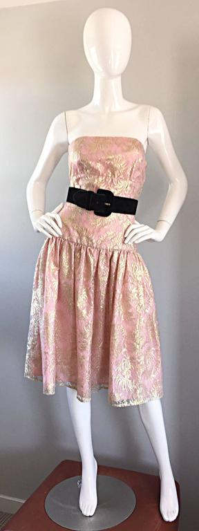 Vintage Halston Pink and Gold Metallic Lace Strapless 1980s 80s Cocktail Dress  For Sale 1