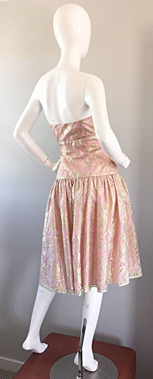 Vintage Halston Pink and Gold Metallic Lace Strapless 1980s 80s Cocktail Dress  For Sale 3