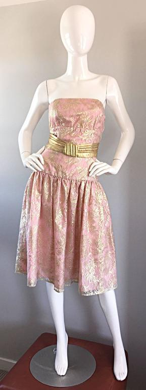 Vintage Halston Pink and Gold Metallic Lace Strapless 1980s 80s Cocktail Dress  In Excellent Condition For Sale In San Francisco, CA