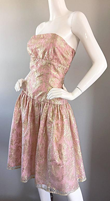 Brown Vintage Halston Pink and Gold Metallic Lace Strapless 1980s 80s Cocktail Dress  For Sale