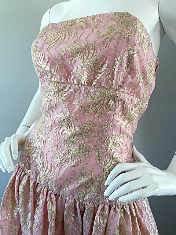 Vintage Halston Pink and Gold Metallic Lace Strapless 1980s 80s Cocktail Dress  For Sale 2