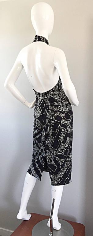 1970s Bob Mackie Black + Silver Glitter Sexy Disco Jersey Vintage Halter Dress For Sale 2