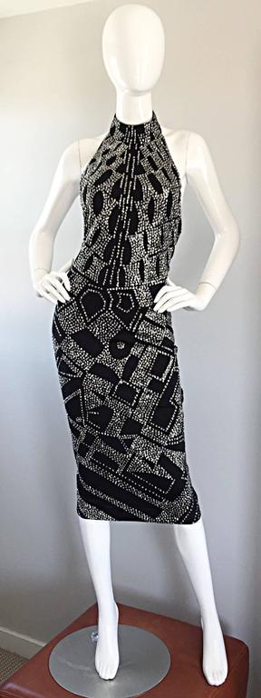 1970s Bob Mackie Black + Silver Glitter Sexy Disco Jersey Vintage Halter Dress For Sale 6