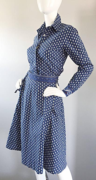 1970s La Provence De Pierre Deux Blue Printed Vintage Wrap Skirt and Blouse Set For Sale 2
