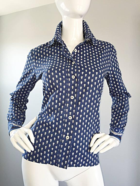 1970s La Provence De Pierre Deux Blue Printed Vintage Wrap Skirt and Blouse Set For Sale 1