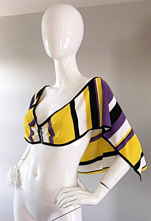 Beige Vintage Angelo Tarlazzi Striped Cropped Knit Color Block Cape Top Avant Garde For Sale