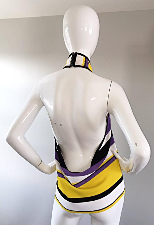 Vintage Angelo Tarlazzi Striped Cropped Knit Color Block Cape Top Avant Garde For Sale 1