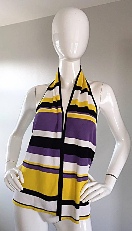 Vintage Angelo Tarlazzi Striped Cropped Knit Color Block Cape Top Avant Garde In Excellent Condition For Sale In San Francisco, CA