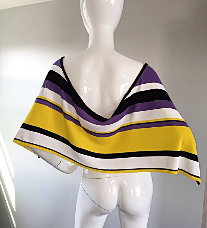 Vintage Angelo Tarlazzi Striped Cropped Knit Color Block Cape Top Avant Garde For Sale 3