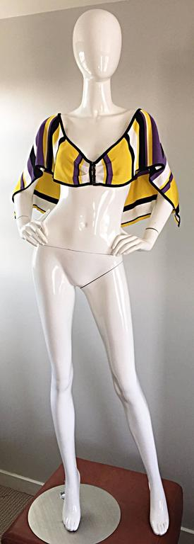 Vintage Angelo Tarlazzi Striped Cropped Knit Color Block Cape Top Avant Garde For Sale 4