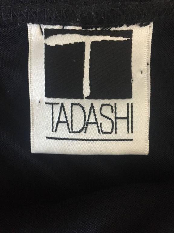 Vintage 1990s Tadashi Shoji Sexy Black Jersey Bodycon Jersey Skirt w/ Gold Chain 9