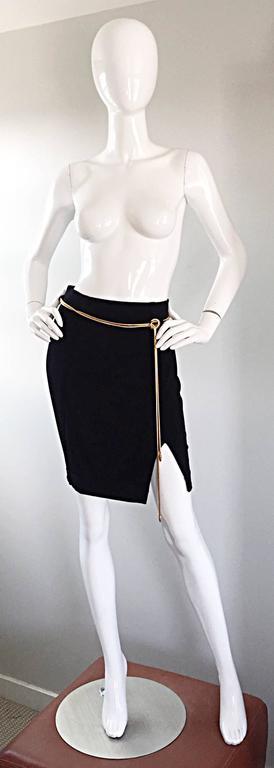 Vintage 1990s Tadashi Shoji Sexy Black Jersey Bodycon Jersey Skirt w/ Gold Chain 2