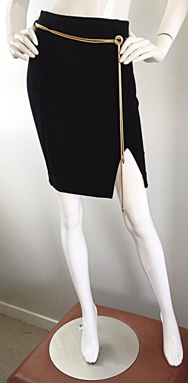 Vintage 1990s Tadashi Shoji Sexy Black Jersey Bodycon Jersey Skirt w/ Gold Chain 8