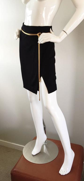 Vintage 1990s Tadashi Shoji Sexy Black Jersey Bodycon Jersey Skirt w/ Gold Chain 6