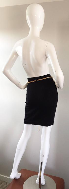 Vintage 1990s Tadashi Shoji Sexy Black Jersey Bodycon Jersey Skirt w/ Gold Chain 7