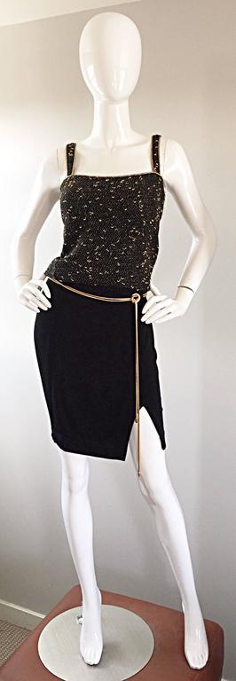 Vintage 1990s Tadashi Shoji Sexy Black Jersey Bodycon Jersey Skirt w/ Gold Chain 3
