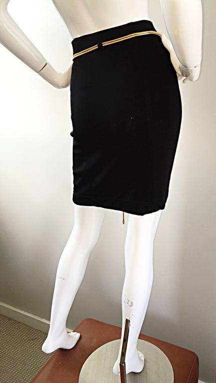 Vintage 1990s Tadashi Shoji Sexy Black Jersey Bodycon Jersey Skirt w/ Gold Chain 5
