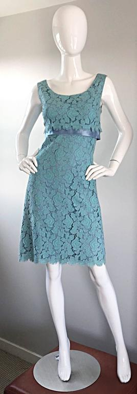 Beautiful 1960s Light Blue Silk French Lace A - Line Demi Couture I Magnin Dress For Sale 5