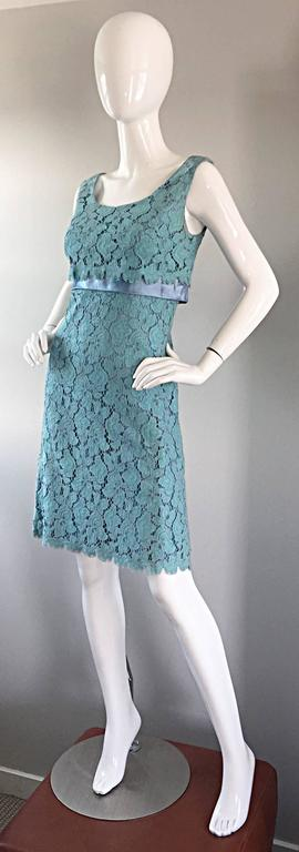 Women's Beautiful 1960s Light Blue Silk French Lace A - Line Demi Couture I Magnin Dress For Sale