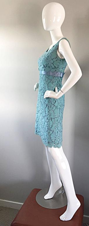 Beautiful 1960s Light Blue Silk French Lace A - Line Demi Couture I Magnin Dress For Sale 3