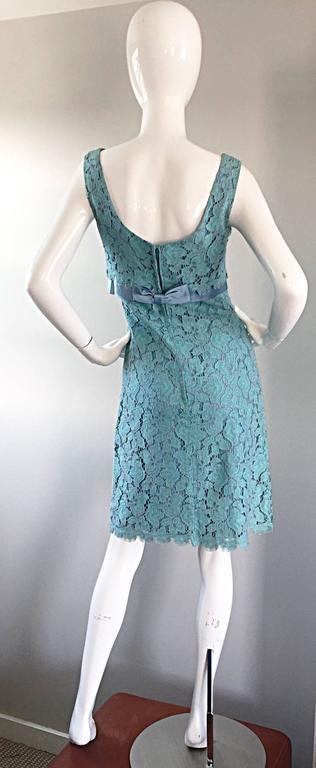 Beautiful 1960s Light Blue Silk French Lace A - Line Demi Couture I Magnin Dress For Sale 1