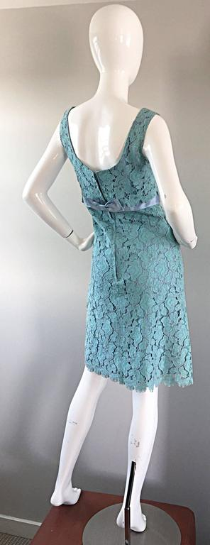 Beautiful 1960s Light Blue Silk French Lace A - Line Demi Couture I Magnin Dress For Sale 4