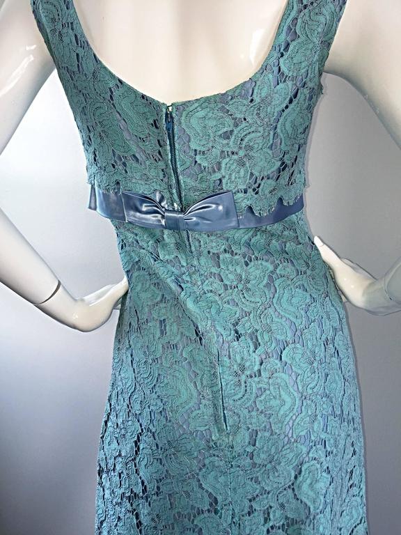 Beautiful 1960s Light Blue Silk French Lace A - Line Demi Couture I Magnin Dress For Sale 2