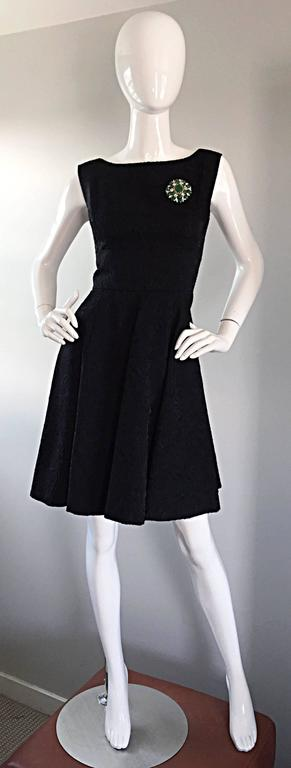 Perfect 1950s Fit & Flare Silk Embroidered 50s Vintage Little Black Dress LBD For Sale 2