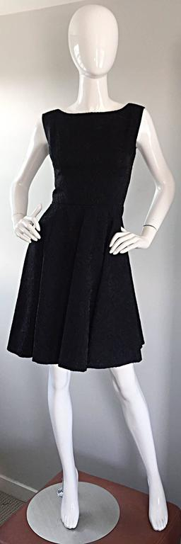 Perfect 1950s Fit & Flare Silk Embroidered 50s Vintage Little Black Dress LBD 2