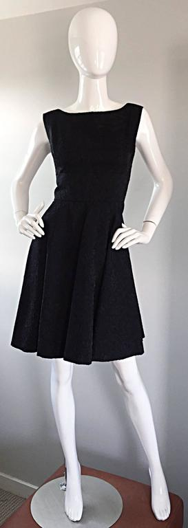 Perfect 1950s Fit & Flare Silk Embroidered 50s Vintage Little Black Dress LBD For Sale 6