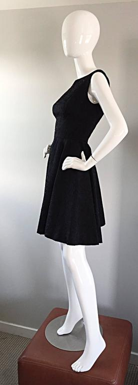 Perfect 1950s Fit & Flare Silk Embroidered 50s Vintage Little Black Dress LBD For Sale 5