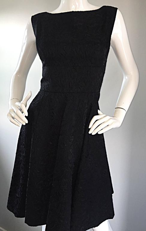 Perfect 1950s Fit & Flare Silk Embroidered 50s Vintage Little Black Dress LBD For Sale 1