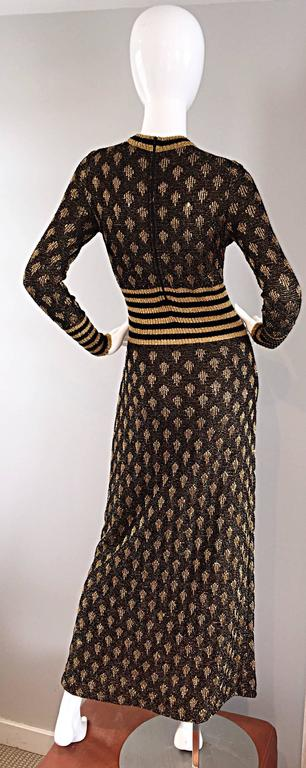 1970s Black And Gold Metallic Knit Lurex Batik Stripe