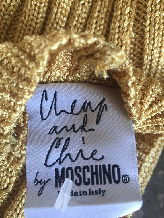 1990s Moschino Cheap & Chic Vintage Gold Metallic Ribbed Cardigan 90s Sweater 8