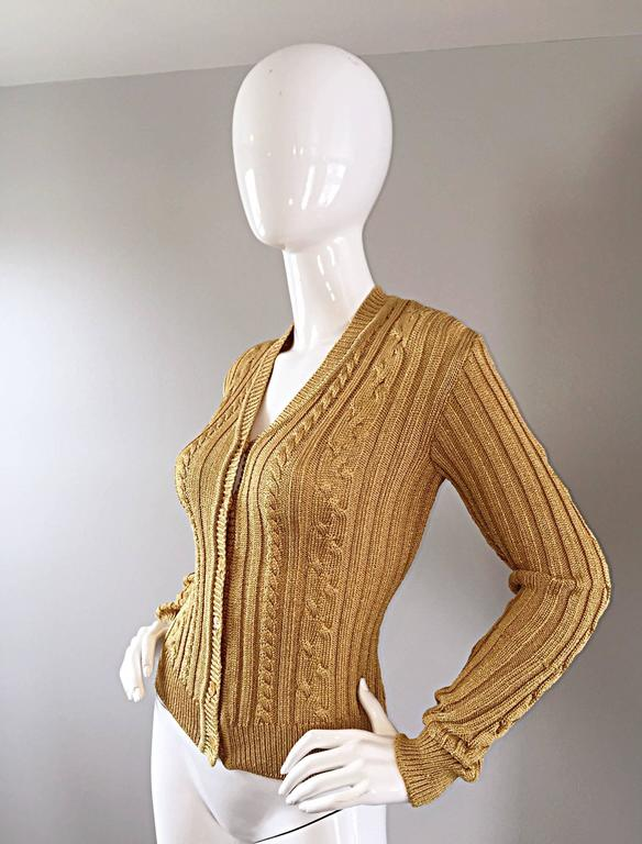 1990s Moschino Cheap & Chic Vintage Gold Metallic Ribbed Cardigan 90s Sweater 3