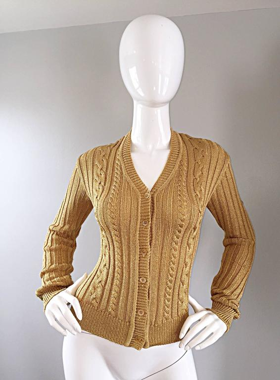 1990s Moschino Cheap & Chic Vintage Gold Metallic Ribbed Cardigan 90s Sweater 2