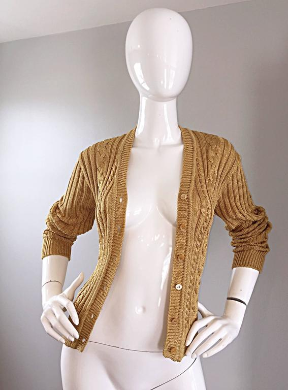 1990s Moschino Cheap & Chic Vintage Gold Metallic Ribbed Cardigan 90s Sweater 4