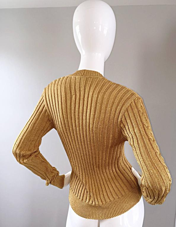 1990s Moschino Cheap & Chic Vintage Gold Metallic Ribbed Cardigan 90s Sweater 5