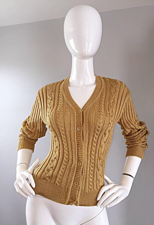 1990s Moschino Cheap & Chic Vintage Gold Metallic Ribbed Cardigan 90s Sweater 6
