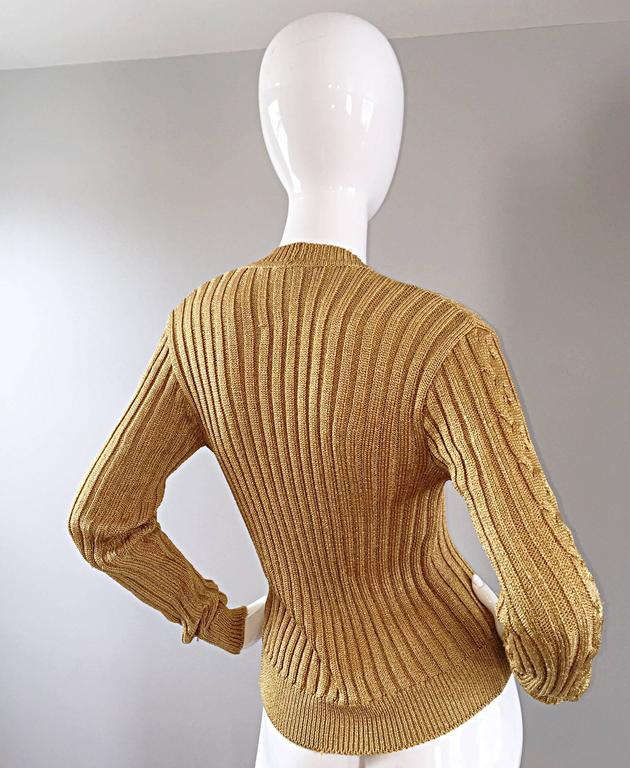 1990s Moschino Cheap & Chic Vintage Gold Metallic Ribbed Cardigan 90s Sweater 7
