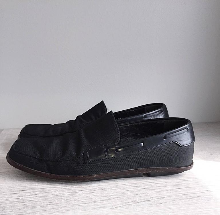 Men's Gucci by Tom Ford 1990s Size 8 Black Nylon Vintage Loafers Shoes For Sale 2
