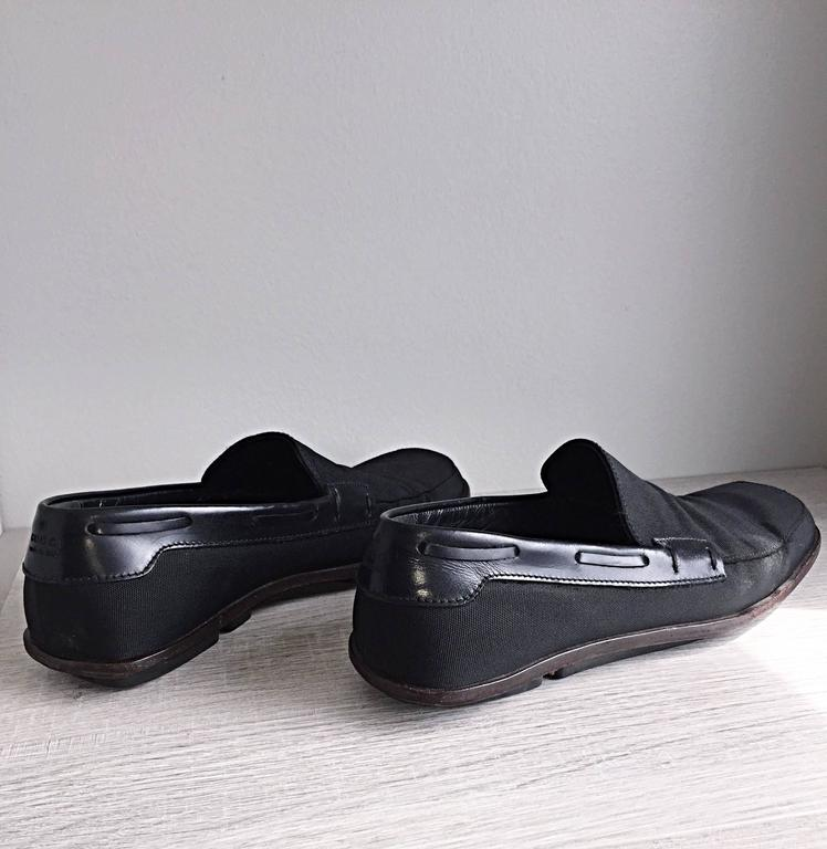 Men's Gucci by Tom Ford 1990s Size 8 Black Nylon Vintage Loafers Shoes For Sale 1
