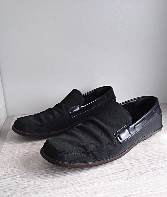Men's Gucci by Tom Ford 1990s Size 8 Black Nylon Vintage Loafers Shoes In Good Condition For Sale In Chicago, IL